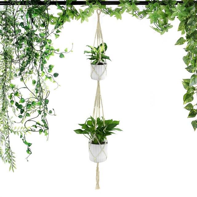 Wituse 1Pc Macrame Planten Hanger Haak 4 Benen Retro Bloempot Opknoping Touw Holder String Huis Tuin Balkon Decoratie wall Art