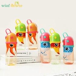 Wind flower Kids Cartoon Animal Plastic Sippy bidon z liną do przenoszenia i zapobiegania wyciekom plastikowa butelka do wody