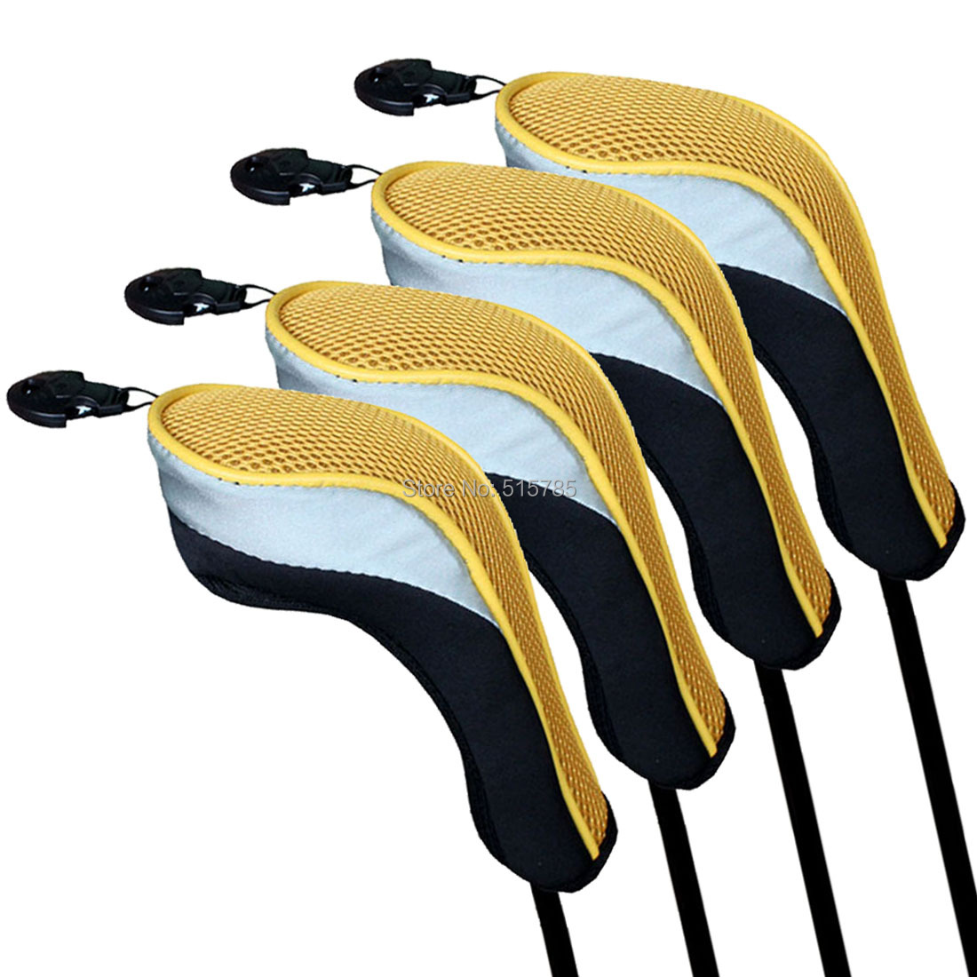 Andux Golf Hybrid Club Head Covers Set Of 4 Black & Yellow Interchangeable No. Tag MT/hy02