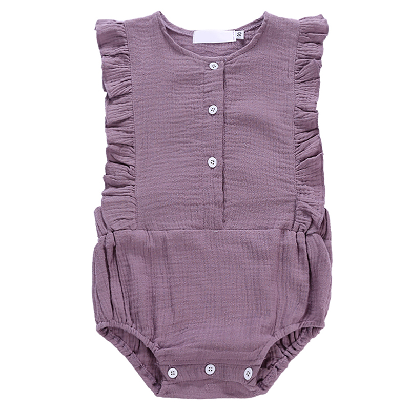 Summer Baby Girl Romper Solid Single Breasted Clothes Infant Sleeveless Jumpsuit Outfits for Girls summer 2017 baby kids girl boy infant summer sleeveless romper harlan jumpsuit clothes outfits 0 24m