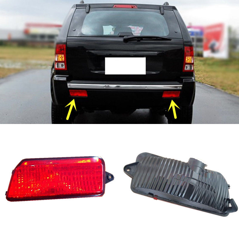 For Jeep Grand Cherokee Red Lens Rear Bumper Reflector Rear Fog Brake Warn Light