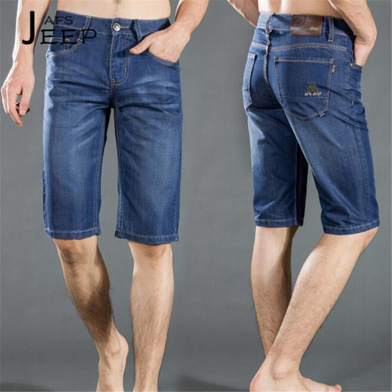 ZHAN DI JI PU Summer Knee Length Denim Jeans men,Cotton Made al aire libre Safati style Deportes Male Mid Waist Short Jeans 28