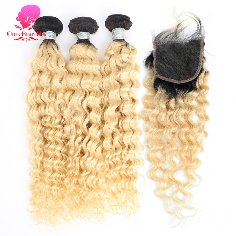 QUEEN 1B 613 Russian Blonde Color Peruvian Hair Deep Wave 2 3 4 Bundles with Closure