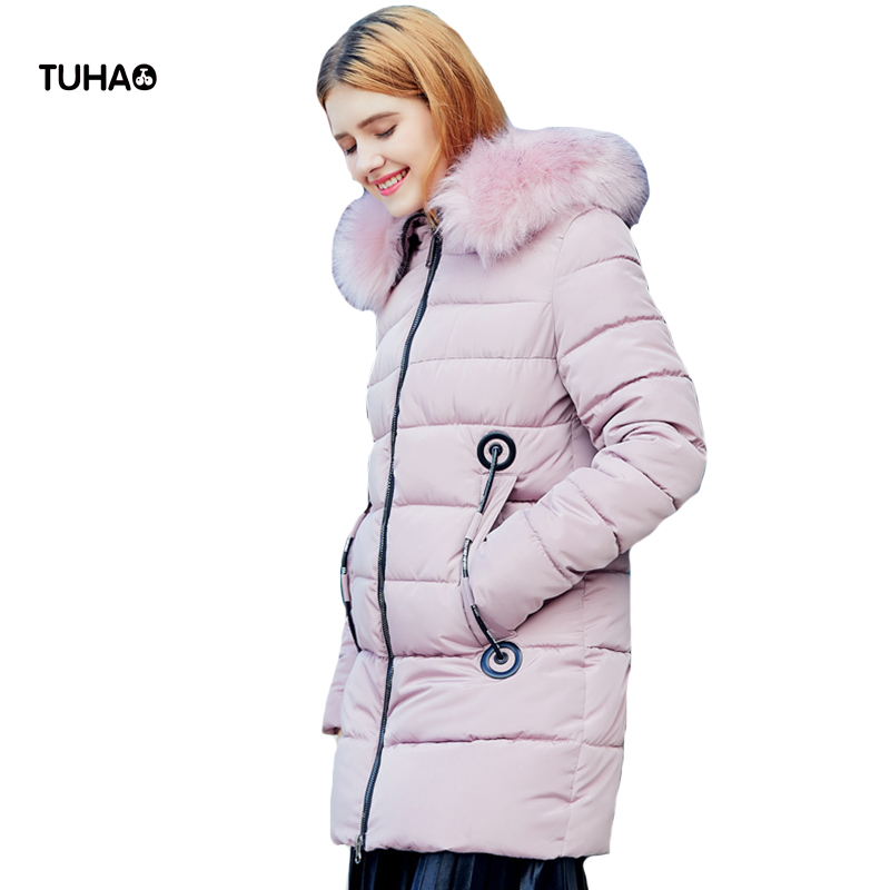 TUHAO Thick Winter Jacket Women Parka Hooded Faux Fur Trim Zipper Long Coat Slim Fit Casual Outerwear Manteau Femme Hiver TR8713 new 2017 winter women coat long cotton jacket fur collar hooded 2 sides wear outerwear casual parka plus size manteau femme 1858