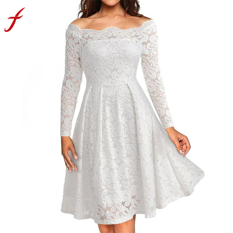 f879e7a507 Ladies Fashion Dresses 2018 Vintage Off Shoulder Lace Formal Party Dress  Long Sleeve Dress Shop Owner Recommended Vestido