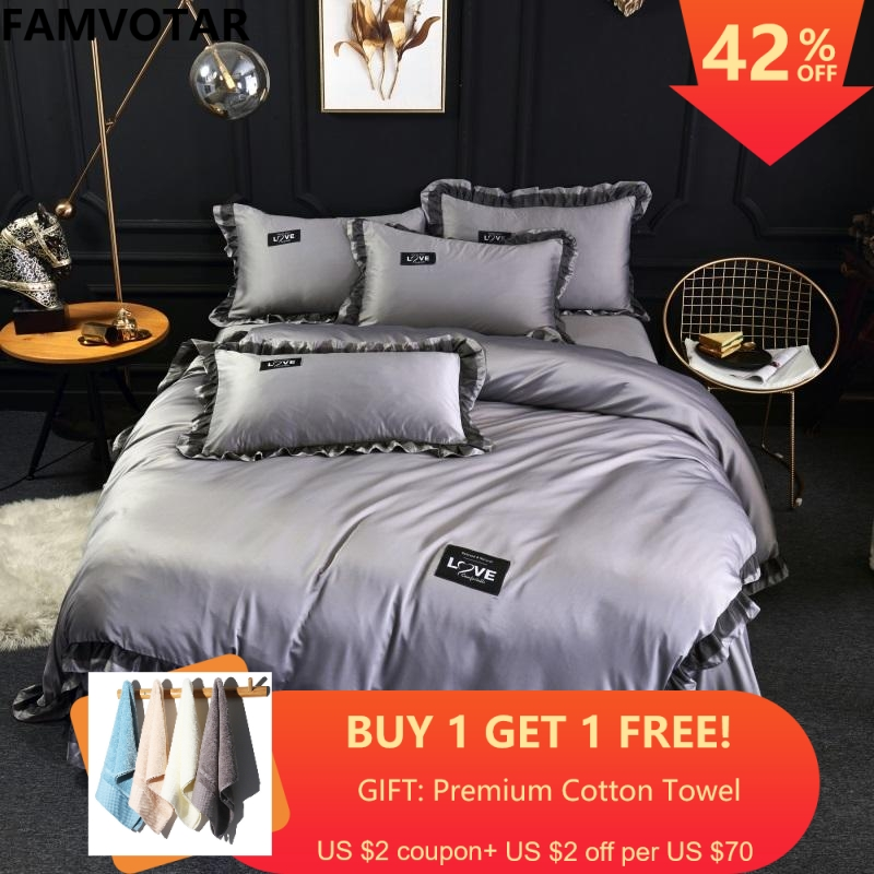 Famvotar Luxury 4 Pieces Silky Satin Bedding Set Chic Solid Color Ruffle Bedding Set Queen King