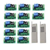 12 Receiver 2 Transmitter Wireless 315MHZ DC 12V 1 Channel Remote Control Switch Relay Output 1000m