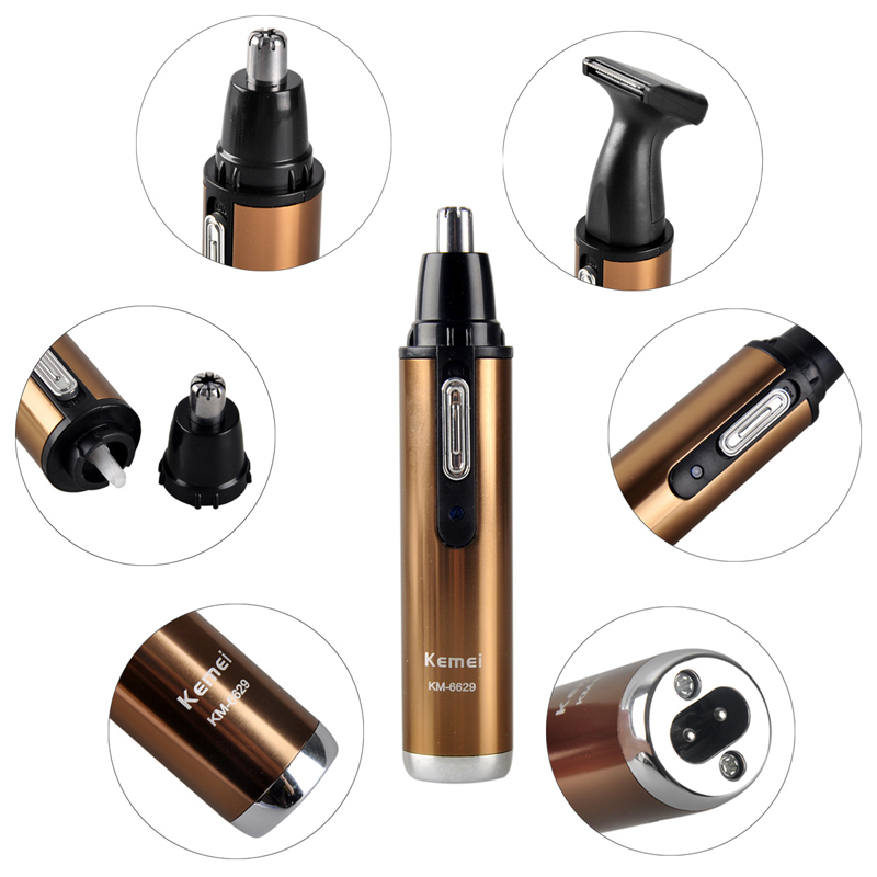 Electric Shaver Trimmer For Nose Trimer Clipper 2in1 Man And Woman Nose Hair Trimmer Safe Face Care Shaving KM-6629