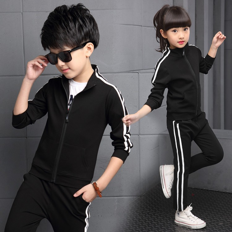 Image 4 - Teenager Boys Clothing Sport Suit Kids Girls Clothing Set Zipper Jacket+Long Pant 2PCS Striped Children Tracksuit Set for 4 16Y-in Clothing Sets from Mother & Kids