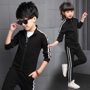 Image 4 - Teenager Boys Clothing Sport Suit Kids Girls Clothing Set Zipper Jacket+Long Pant 2PCS Striped Children Tracksuit Set for 4 16Y