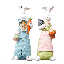 Cute Rabbit Home Decoration Accessories Figures Cartoon Miniatures Model Toy Resin Creative Craft Figurine Gifts