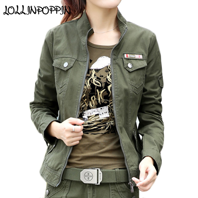 3825b3d183bfc Women Military Style Cargo Jacket Army Green Jackets Stand Collar 100% Cotton  Army Jacket 2019 Spring Ladies Casual Jacket