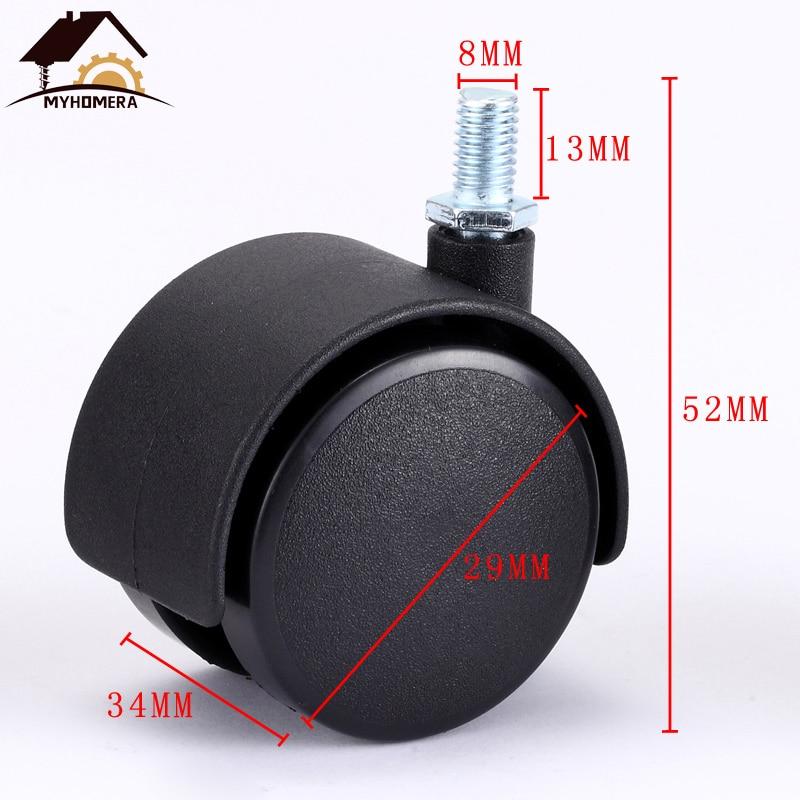 O rodízio m8 da mobília das rodas de myhomera 4x 2x roda o rodízio do giro de 30mm substituiu a roda silenciosa do trole com proteção do freio-2