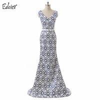 Billig Blumendruck Lange Abendkleider 2017 Meerjungfrau V-ausschnitt Sleeveless Lace Up Zurück Dubai Arabisch Formale Abendgesellschaft Kleider
