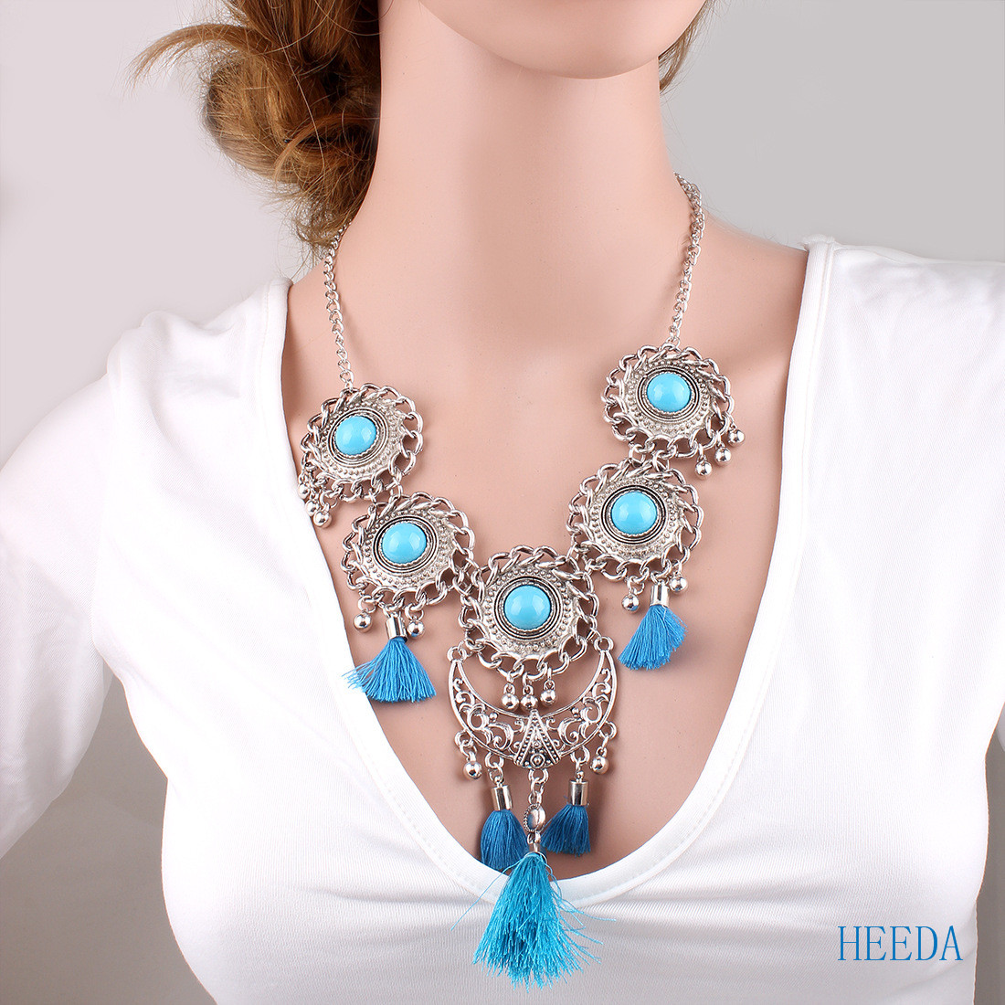 2018 New Retro Style Necklace Earring Set Boho Resin Fashion Tassel Jewelry Set Black,Bl ...