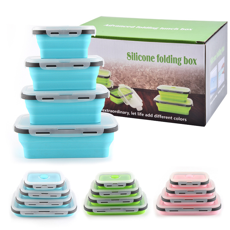 4pcs Per Set Collapsible Foldable Kitchen Microwave Safe Leakproof Lunch Box Food Container Container