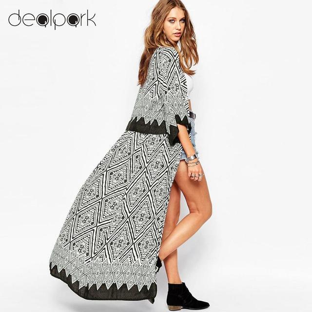 88035adc2f1 5XL Plus Size Women Chiffon Kimono Cardigan Geometric Print Beach Boho  Outerwear 3XL 4XL Summer Loose Bikini Cover Up Blue Black