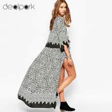 0cc5e1bfea 5XL Plus Size Women Chiffon Kimono Cardigan Geometric Print Beach Boho  Outerwear 3XL 4XL Summer Loose Bikini Cover Up Blue/Black