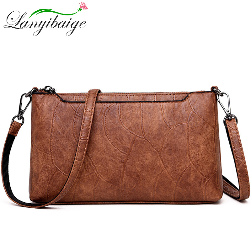LANYIBAIGE Women Clutch Messenger Bags Design Women Shoulder Bags Diagonal Vintage Leather Ladies Handbags Small Messenger Bag