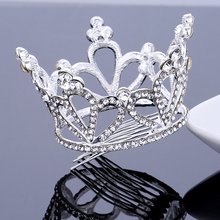 TDQUEEN Wedding Hair Accessories Silver Plated Full Round Crystal Rhinestone Tiaras and Crowns for Women