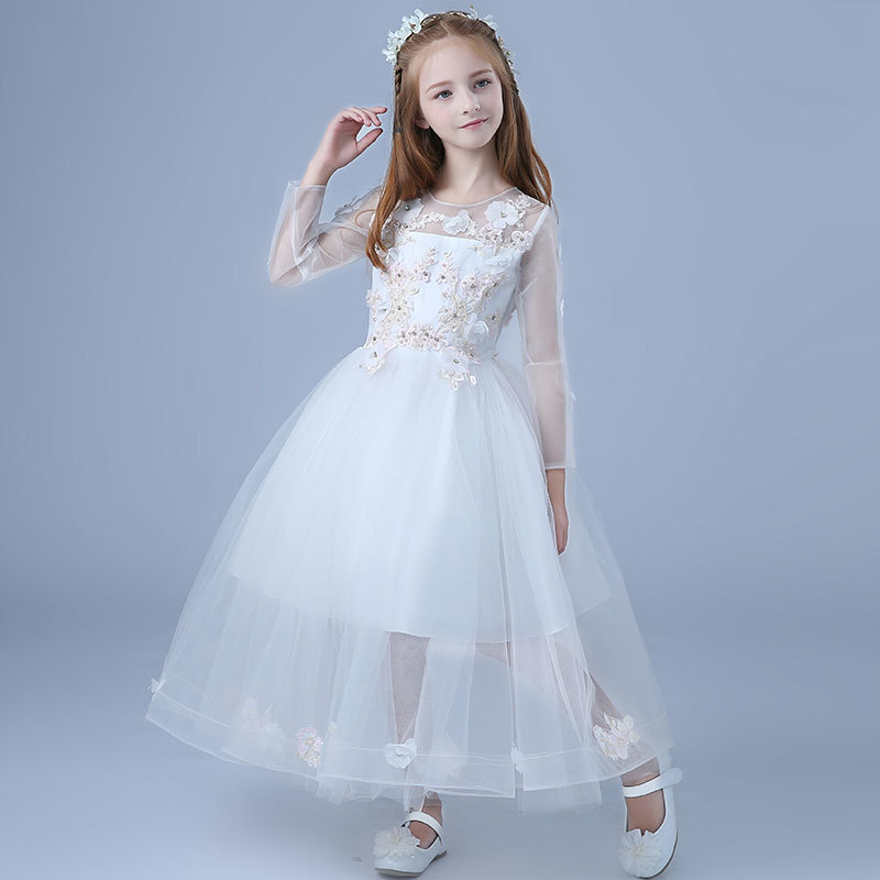 Elegant Autumn Long Sleeves Fancy Angel Flower Little Girls Dress Handmade Kids Teenagers First Communion Pageant Glitz Dress подвесной светильник dome
