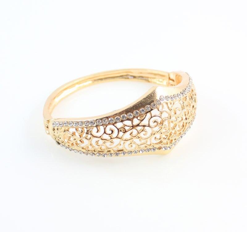 Fashion Dubai Design Women Gold Color Crystal Necklace Bangle ...