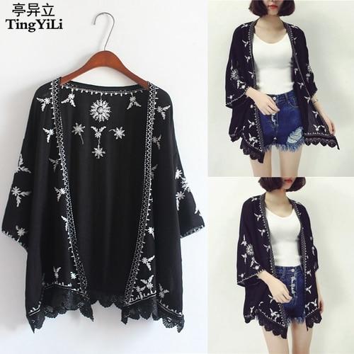 Aliexpress.com : Buy TingYiLi Embroidery Kimono Cardigan Women ...