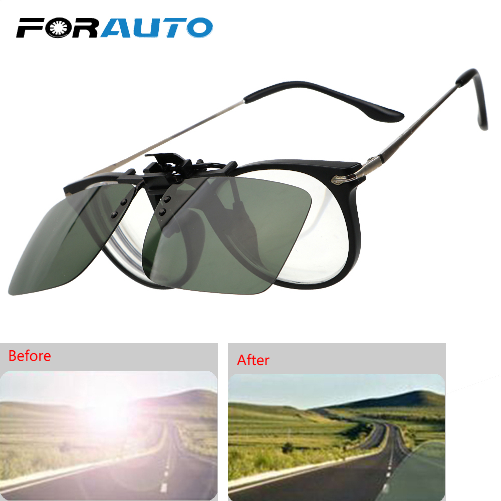 FORAUTO Car Driver Goggles Anti-UVA UVB Polarized Sun Glasses Clip On Sunglasses Driving Night Vision Lens Interior Accessories