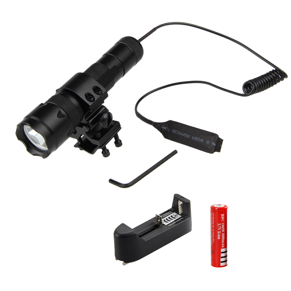 2500Lm Cree XML T6 LED Flashlight Torch Tactical Light Mount Lamp Rifle Gun Rail Lanterns+Rechargeable 18650 Battery + Charger led tactical flashlight 501b cree xm l2 t6 torch hunting rifle light led night light lighting 18650 battery charger box