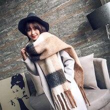 Новинка, модный кашемировый женский шарф в клетку, зимняя теплая шаль и бандана из пашмины, длинный женский шарф с кисточками, плотное одеяло