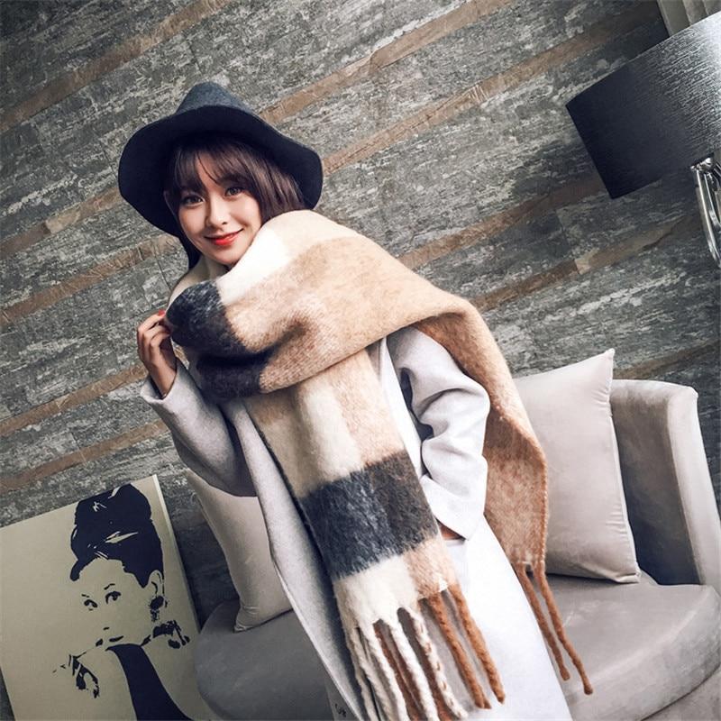 2020 NEW fashion cashmere women plaid scarf winter warm shawl and wrap bandana pashmina long tassel female foulard thick blanket|Women