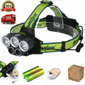 NEW 5X XML T6 Headlamp 20000 Lumens 4 Mode LED Headlight USB Power Rechargeable Hunting Head Light +18650 Battery