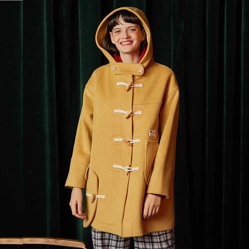 High Quality Horn Buckle Yellow Loose Woolen Coat Mid length Hooded Collar Long Wool Blends Coats