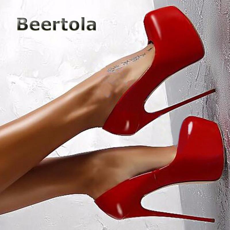 Beertola 2018 Gran Alta 43 Nueva Bombas Cm Sexy Ultra Charol Zapatos Mujeres Tacones 16 Tamaño Plataforma Llegada Altos rwrTxvE