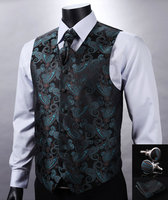 VE11 Green Black Paisley Top Design Wedding Men 100%Silk Waistcoat Vest Pocket Square Cufflinks Cravat Set for Suit Tuxedo