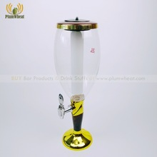 3L Cheap Gold with Wood Base Beer Tower Dispenser LED Ice Tube BTF16
