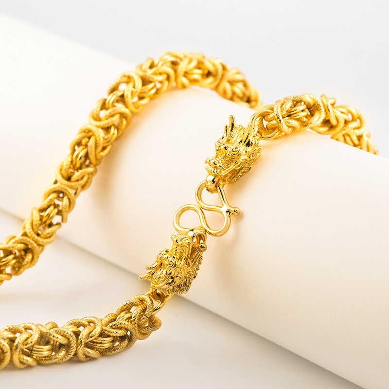 Ethlyn głowa smoka ręcznie łańcuch ciężki wietnamski złoty kolor szerokość 8mm mężczyźni naszyjnik biżuteria kolor jakość dobra N011