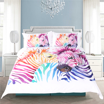 White color Striped Zebra Modern Style Bedding Sets Polyester Duvet Cover Set Pillowcase Twin Full Queen Size King 3d bedclothes