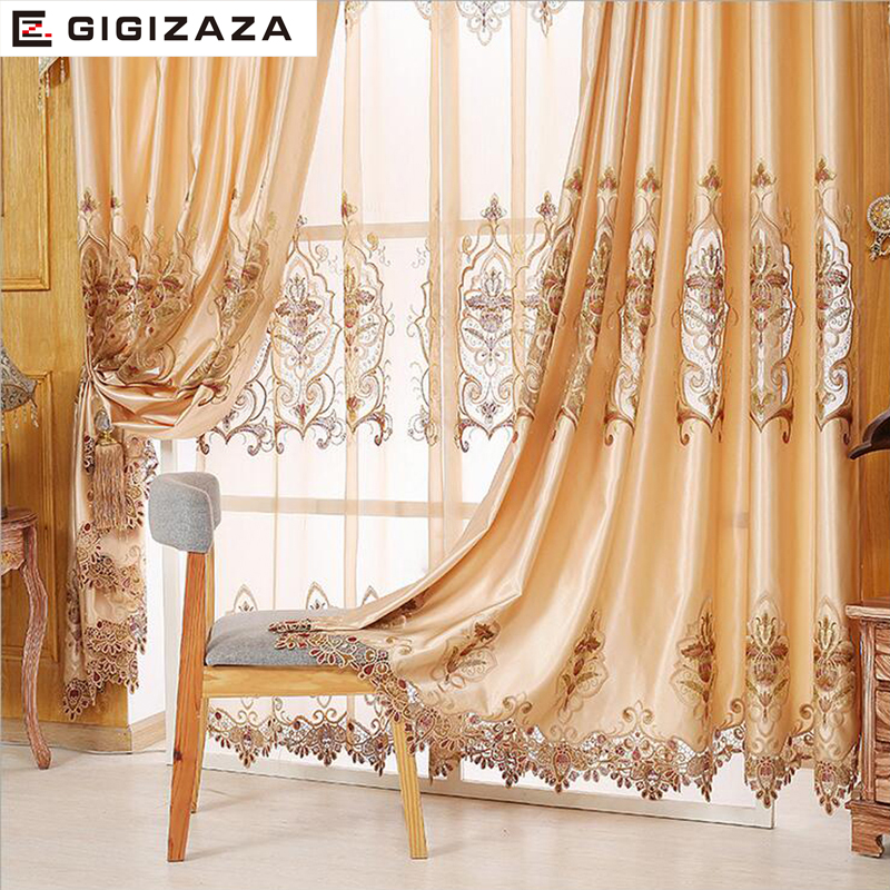 NEW GIGIZAZA Embroidery Imitation Silk Heavy Fabric Window Curtain TAN Color Black Out Blinds for Bedroom