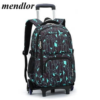 Latest Removable Children School Bags With 3 Wheels Stairs Kids boys girls Trolley Schoolbag Luggage Book Bags Wheeled Backpack