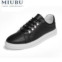 MIUBU New Summer Comfortable Casual Shoes Mens Leather For Men Lace-Up Brand Fashion Flat Loafers Lightweight