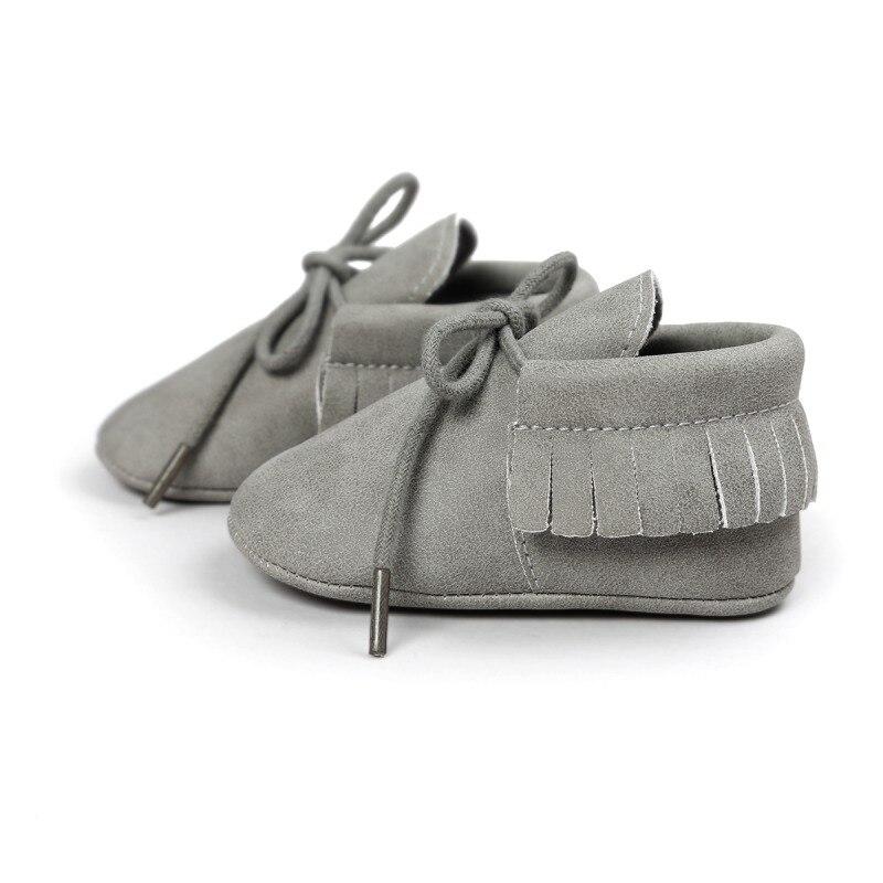 PU Suede Leather Newborn Baby Boy Girl Moccasins Soft Moccs Shoes Fringe Soft Soled Non-slip Footwear Crib Lace-up Shoe j2