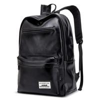 AUGUR PU Leather Backpack mochila Business Travel Shoulder Bag USB Interface Student Bag Female Waterproof Laptop Backpack