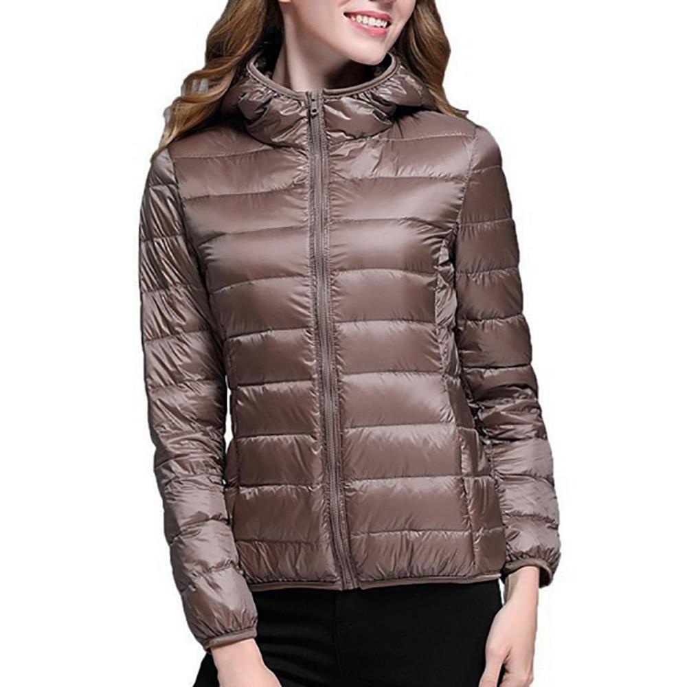 Women Ultra Light Down Jacket Hooded Winter 90% White Duck Jackets Down Women Parka zipper slim hooded Coats Plus Size 2018 New