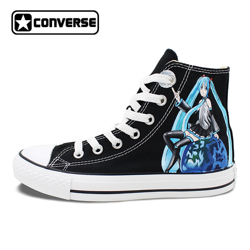 Women Men Converse All Star Canvas Shoes VOCALOID Hatsune MIKU EXPO Design Hand Painted Sneakers Skateboarding Shoes Gifts converse all star high top shoes for men women dreamcatcher design flats lace up canvas sneakers for gifts