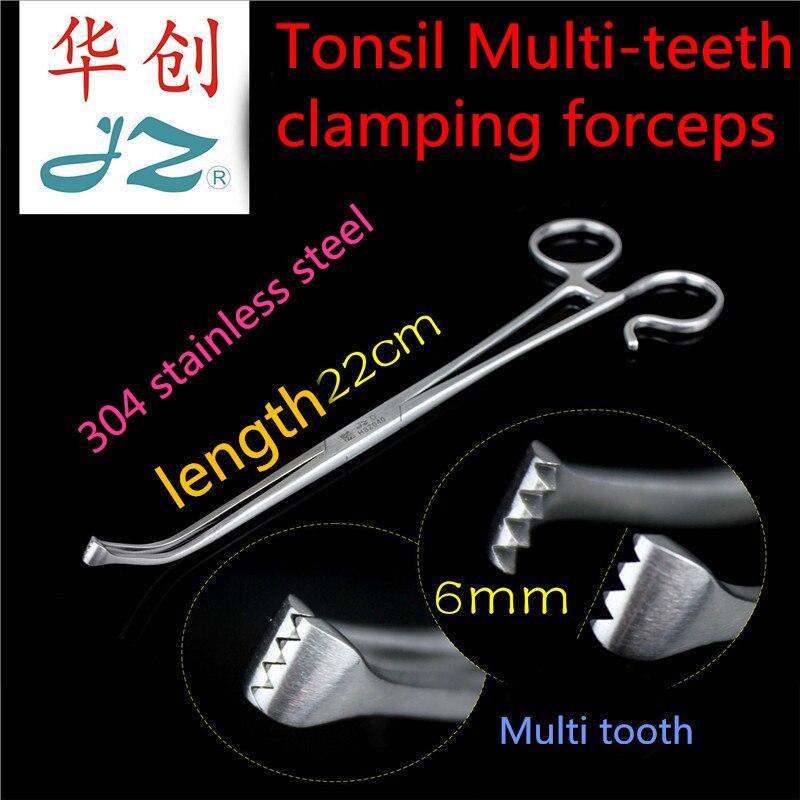 JZ medical Otorhinolaryngology tonsillectomy surgery instrument curved head Tonsil clamp forcep Tonsillar tissue forcep H8Z040