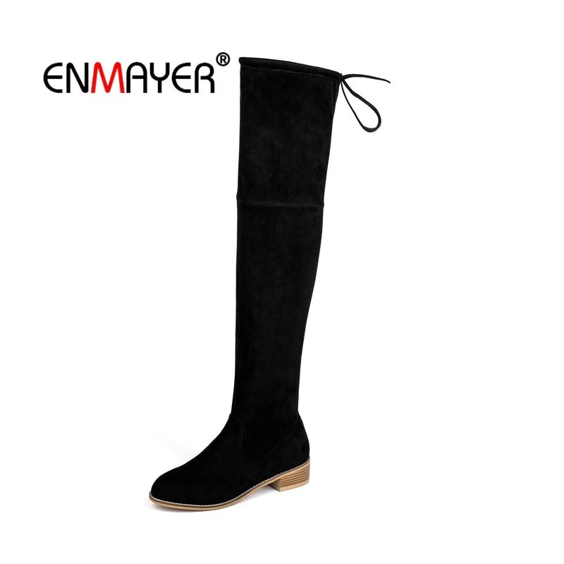 ENMAYER Femme Sur Le bottes hautes chaussures pour femmes Bottes D'hiver Bottes pour Femmes cuissardes butin Kid Suede bottes de mode CR2032