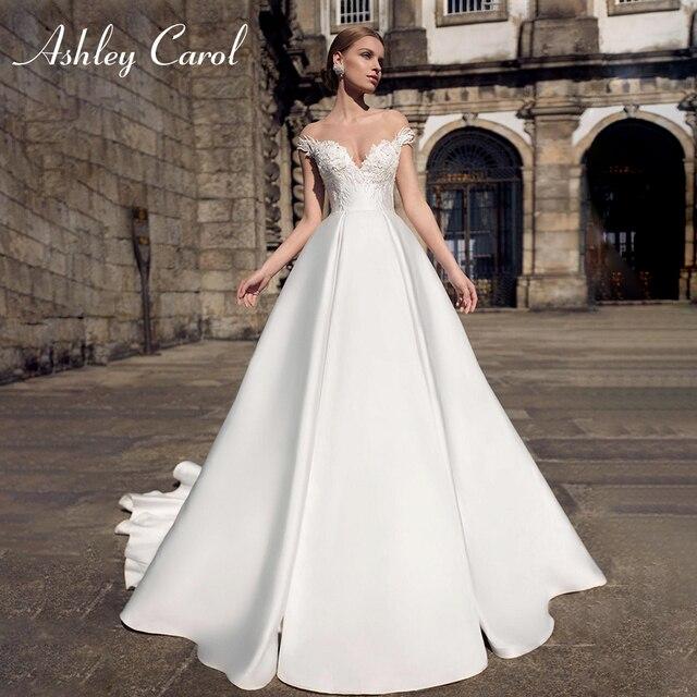 Ashley carol vestido de casamento de cetim elegante 2020 a linha fora do ombro rendas acima da noiva querida apliques vestidos de noiva do vintage