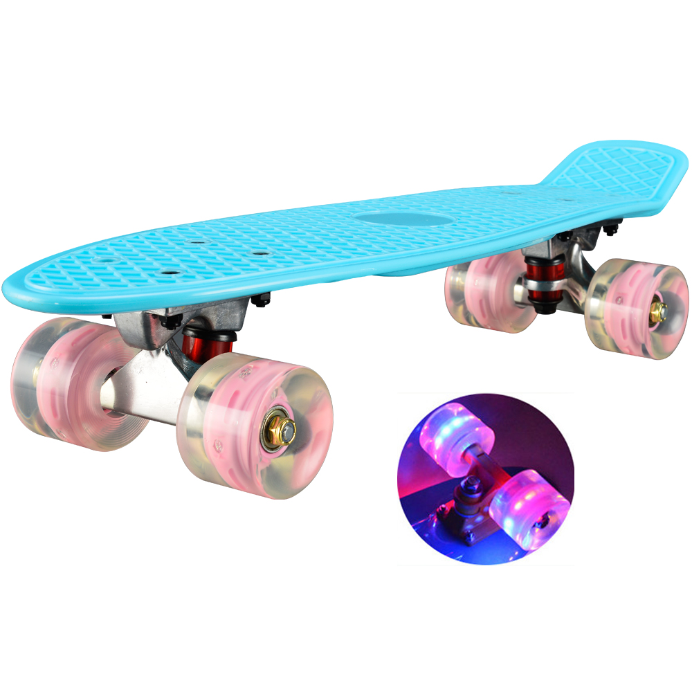 """Latest Collection Of Chi Yuan 22"""" Skateboard Mini Cruiser Board Retro Skate Board Complete With Led Light Up Wheels Pastel"""