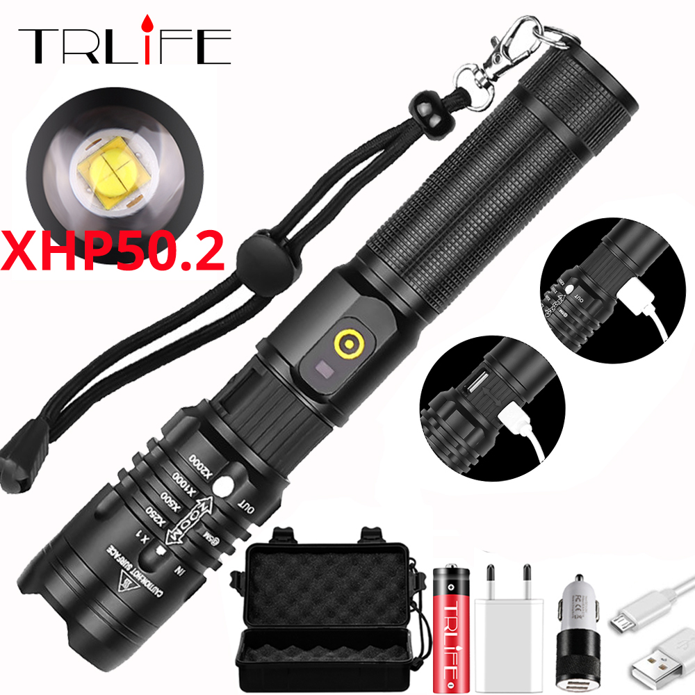 <font><b>60000LM</b></font> Most Powerful <font><b>LED</b></font> Flashlight XHP50.2 USB Rechargeable Torch XHP50 USB Zoom Lantern Hunting Lamp Self Defense Use 18650 image